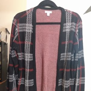 Croft and Barrow plaid open front cardigan
